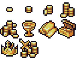 Gold treasure icons 16x16   OpenGameArt