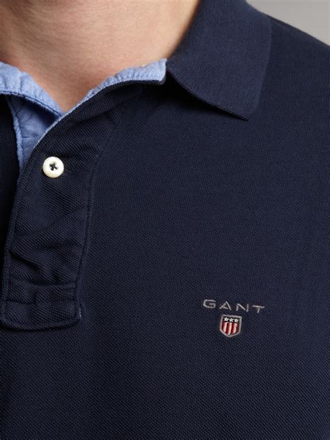 GANT Regular Fit Solid Pique Polo Shirt in Navy (Blue) for