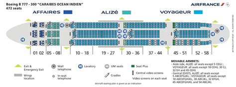 AIR FRANCE AIRLINES BOEING 777-300 AIRCRAFT SEATING CHART