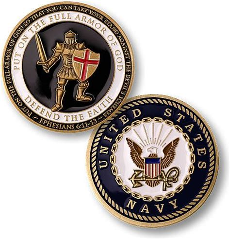 Armor of God Coin - Navy | Armor of god, Challenge coins