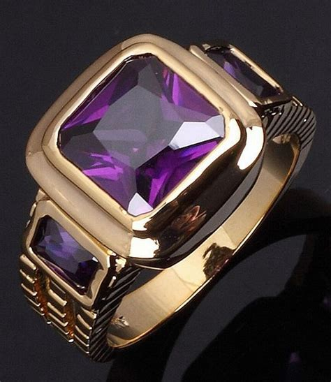 Size 8,9,10,11,12 Luxury Amethyst Engagement Gold Filled