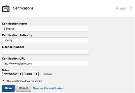 Udemy + LinkedIn 'Add to Profile for Certifications'