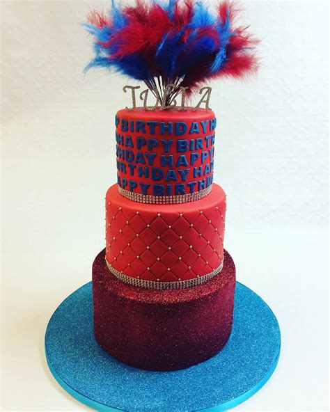 Red and Blue Glitter Cake with Feathers - Adult Birthday